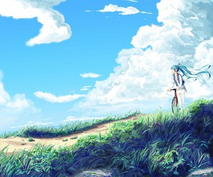 blue, clouds, and miku image