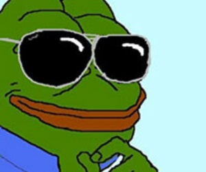 black, blue, and frog pepe image