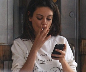 Mila Kunis, smoke, and cigarette image