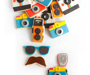 camera, mustache, and Cookies image