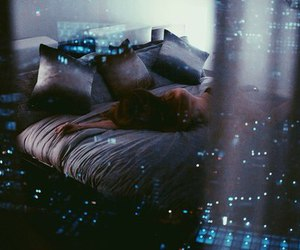night, light, and bed image
