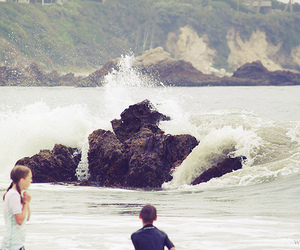 beach, rock, and waves image