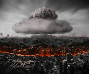 death, destruction, and nuclear bomb image