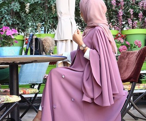 hijab, pink, and abaya image