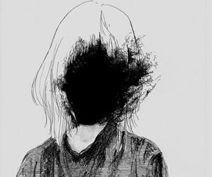 art, black, and sad image