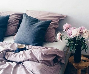bedroom, room, and flowers image