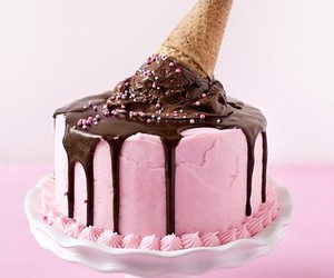 cake, pink, and ice cream image