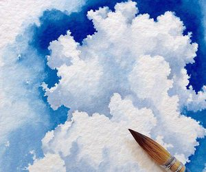 art, clouds, and blue image