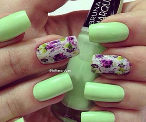 nails, art, and flowers image