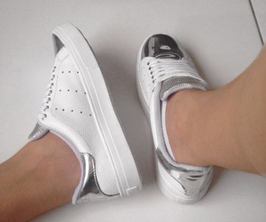 white, silver, and sneakers image