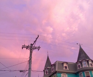 pink, sky, and house image