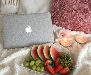bed, laptop, and watermelon image