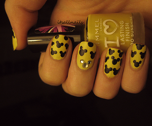 nails, yellow, and mickey mouse image