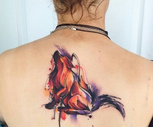fox, watercolor, and tattos image