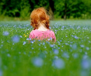 field, ginger girl, and flowers image