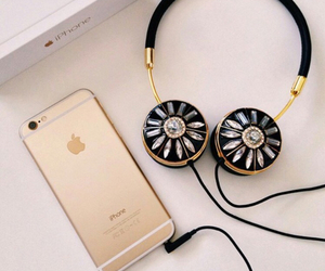iphone, apple, and headphones image