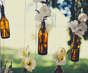 flowers, bottle, and vintage image