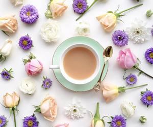 flowers, tea, and coffee image