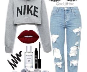 fashion, lipstick, and nike image