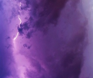 clouds, lightning, and purple image