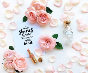 bouquets, pink roses, and cosmetics image