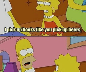 book, beer, and simpsons image