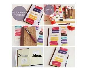 creativity, macaroon, and notebook image