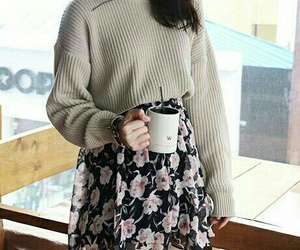 fall outfit, grey knee high socks, and wavy brown hair image
