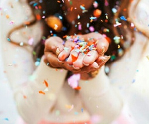 girl, confetti, and pink image