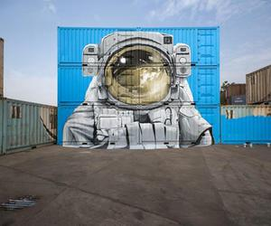 art, astronaut, and mural image