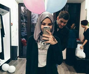 balloon, couple, and hijab image