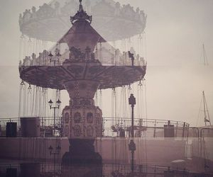 carousel, city, and double exposure image