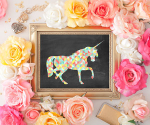 chalkboard, flowers, and pastel image