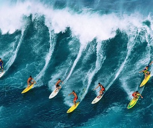 surfing, blue, and surf image