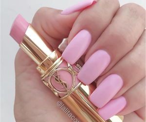 nails, pink, and lipstick image