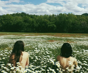 flowers, girls, and nature image