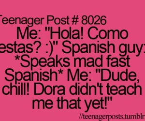 funny, spanish, and Dora image