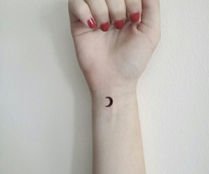 tattoo, moon, and hand image