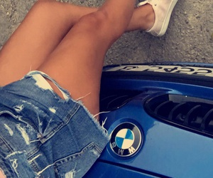 blue, bmw, and girl image