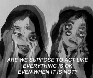 act, black and white, and sad image