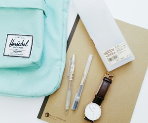 backpack, mint, and notebook image