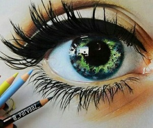 art, eye, and green image