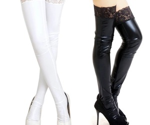 high heels, pu leather, and stockings image