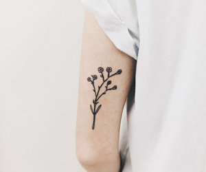 tattoo, flowers, and white image
