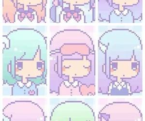 kawaii, girl, and pixel image