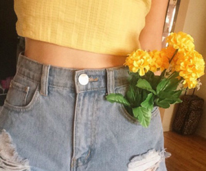 denim, yellow flowers, and flowers image