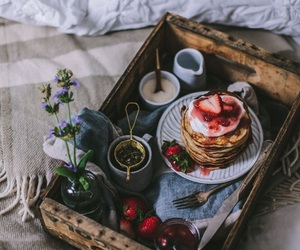 food, breakfast, and bed image