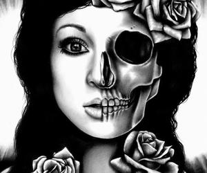 girl, rose, and skull image