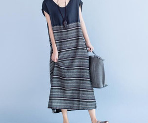 black, linen dress, and maxi dress image