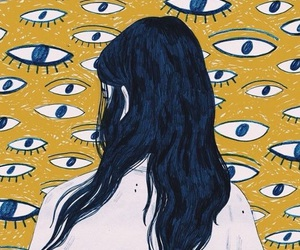 art, eyes, and yellow image